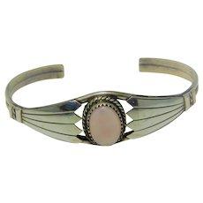 Sterling Rose Quarts Cuff Bracelet