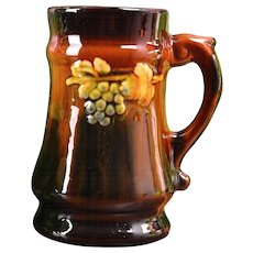 Peters and Reed Art Pottery Standard Glaze Grapes and Leaves Mug