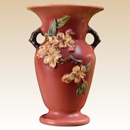 Roseville Pottery 1948 Trial Glaze Experimental Coral Apple Blossom Vase #385-8