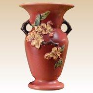 Roseville Pottery 1948 Trial Glaze Experimental Coral Apple Blossom Vase #385-8