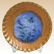 Rookwood Pottery 1885 Light Butterfly on Blue Background Porridge Saucer