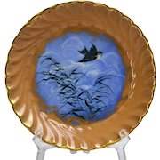 Rookwood Pottery 1885 Sparrow on Blue Background Flying Away from Grass Porridge Saucer Bowl