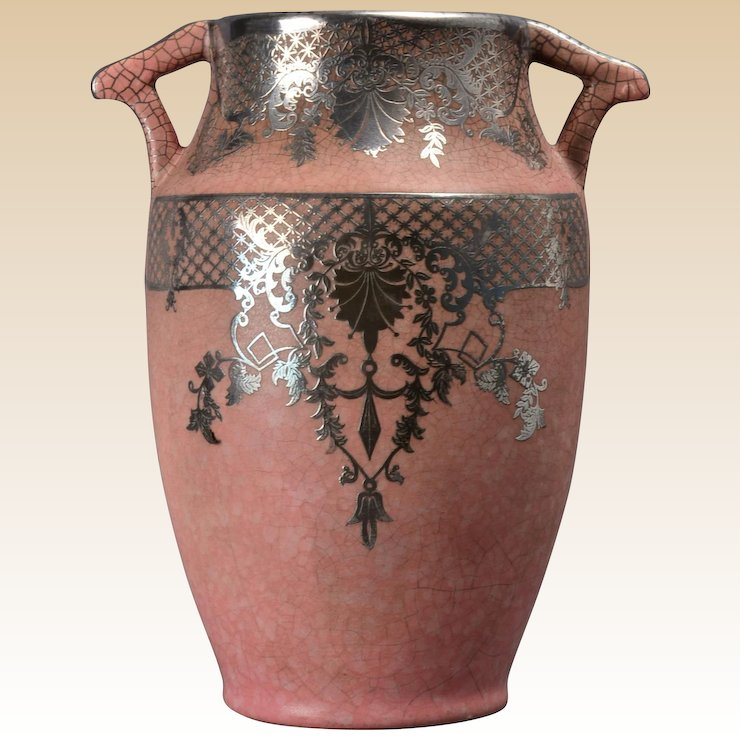 Weller Pottery Vase Pink With Silver Overlay 1930s Kings Fortune