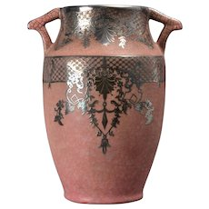 Weller Pottery Vase, Pink with Silver Overlay 1930's