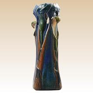 Tiffany Style Favrile Pottery Calla Lily/Jack in the Pulpit Polychrome Vase