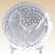 Lalique Crystal Ashtray, Koi Concarneu Ashtray