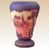 DeVez French Cameo Scenic Town by Lake Vase, 1920's