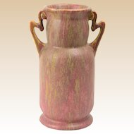 Roseville Pottery Vase, Cotton Candy Carnelian II Handled Vase #313-9, 1915