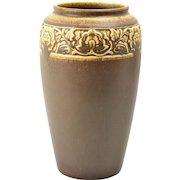 Rookwood Pottery Vase, Arts and Crafts Chocolate Floral Rim Vase #2484, 1924