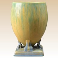 Roseville Pottery Vase, Futura Green Yellow Ostrich Egg Vase #400-7 1924