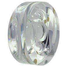 Baccarat Crystal Sculpture, Round Geometric Sculpture