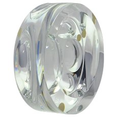 Baccarat Crystal Sculpture, Round Geometric Sculpture
