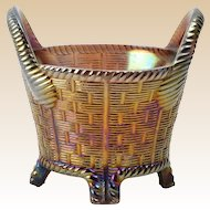 Northwood Glass Bowl, 1902-25 Amethyst Purple Carnival Basketweave Bushel Basket