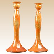 Weller Pottery Candle Holders, 1920-25 Besline Tall Candle Holders