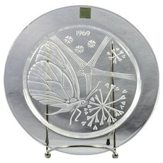 "Lalique Crystal Annual Plate, 1969 Papillon ""Butterfly"" Annual Plate"