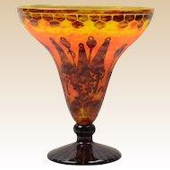 Charles Schneider Vase, 1925-27 Le Verre France Art Deco Bell Flower Orange Brown Coupe