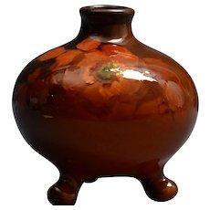 Weller Pottery Vase, 1896-1924 Louwelsa Orange Rose Tri-Foot Bowl