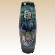 Pillin Pottery Vase, Women Netting Fish Cylinder Vase