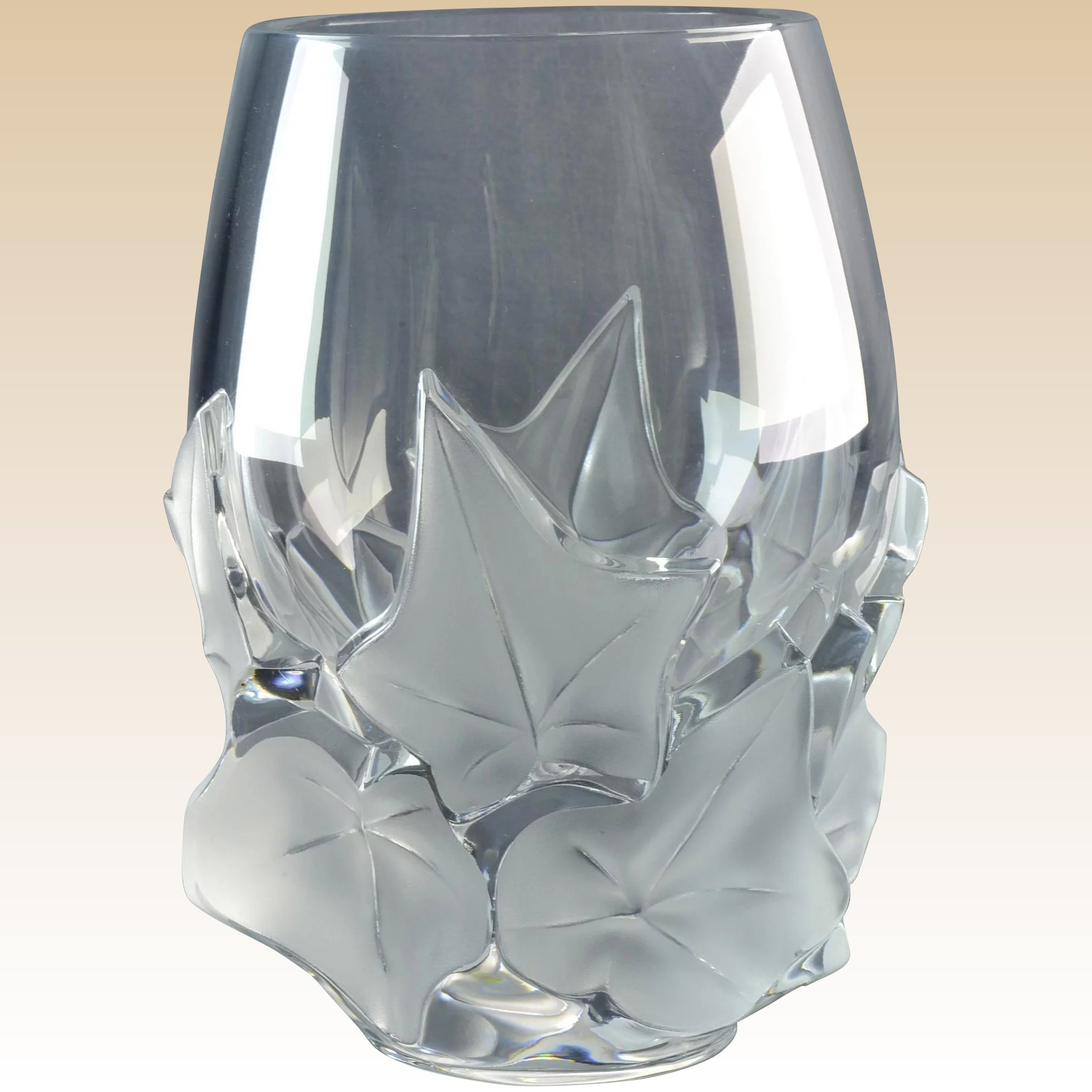 Lalique crystal vase 1980 hedera ivy vase kings fortune ruby lane lalique crystal vase 1980 hedera ivy vase click to expand reviewsmspy
