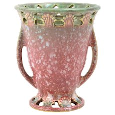 Roseville Pottery Vase, 1931 Red Ferella Small Handled Vase #500-5