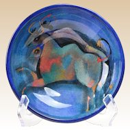Pillin Pottery Bowl, 2 Bulls Blue Bowl