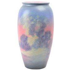 Rookwood Pottery Vase, 1938 Landscape Scenic Vellum Vase ET Hurley #892C