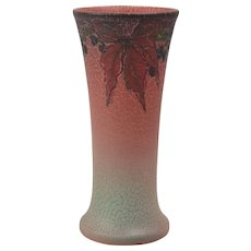 Rookwood Pottery Vase, 1922 Mat Rose Poinsetta Vase #1357E Elizabeth Lincoln