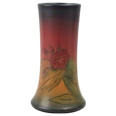 Rookwood Pottery Vase, 1925 Mat Red Glaze Red Flowers Tapered Vase #1358D Elizabeth Lincoln