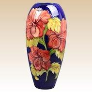 Moorcroft Pottery Vase, 1947-53 Cobalt Hibiscus Vase Artist Signed
