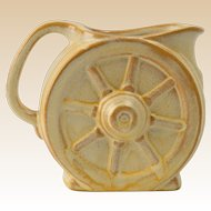 Frankoma Pottery 1933-54 Desert Gold Wagon Wheel Creamer with sticker Ada clay