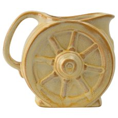 Frankoma Pottery 1933-54 Desert Gold Wagon Wheel Creamer with sticker Ada clay