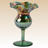 Dugan Glass Compote,1920's Green Carnival Tulip Ruffle Small Compote