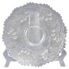Fenton Glass Plate, 1910 Orange Tree with Thistle Outside White Carnival Plate #1406