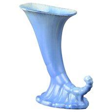 Roseville Pottery Vase, 1933 Blue Tourmaline Cornucopia Vase #106-7