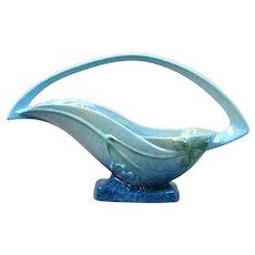 Roseville Pottery Basket, 1948 Azure Blue Wincraft Basket #209-12