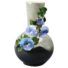 Rookwood Pottery Vase, 1882 Gray Black Bottle Vase with Applied Morning Glories E Blaine