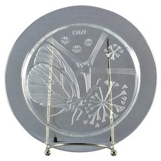 """Lalique Crystal Annual Plate, 1969 Papillon """"Butterfly"""" Annual Plate"""