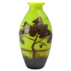 Andre Delatte 1920's French Cameo Scenic Vase in Brown and Green