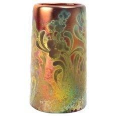 Weller Pottery Vase, 1902-07 Sicard Floral Motif Cylinder Vase
