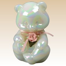 Fenton Glass 1980's Bear - Pearly Sentiments