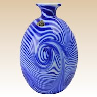 Fenton Glass Vase, 1975 Labyrinth Cobalt White Swirls Vase Dave Fetty 125/700