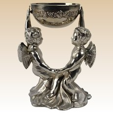 Victorian Pewter Cherubs Bridal Cup with Sterling Silver Cup