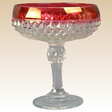 Indiana Glass Candy Dish, 1960s Ruby Diamond Point Stemmed Candy Dish
