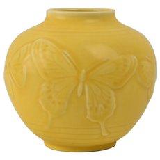 Rookwood Pottery Vase, 1942 Yellow Mat Butterfly Round Vase #6509 Kataro