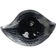 Lalique Crystal Egg Cup, 1980 Elyre Laurel Leaf Egg Cup