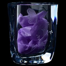 Strombergshyttan Swedish Blue Crystal Butterfly Triangle Vase B1152