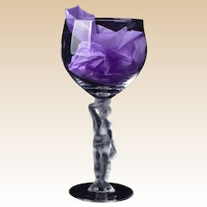 Bayel French Crystal Frosted Stem Wine Goblets, BACCHUS