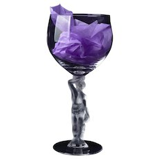 Bayel French Crystal Frosted Stem Wine Goblets, BACCHUS