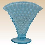 Fenton Glass Vase, 1940-54 Blue Oopalescent Hobnail Footed Fan Vase #1340