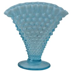 Fenton Glass Vase, 1940-54 Blue Oopalescent Hobnail Footed Fan Vase #1340